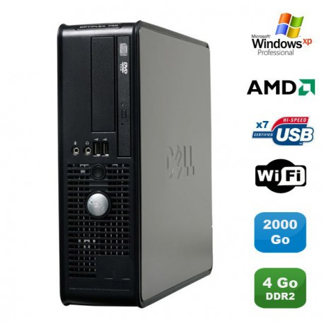 PC DELL Optiplex 740 SFF AMD Athlon 64 2.7GHz 4Go DDR2 2000Go WIFI DVD Win XP Pro