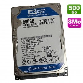 """Disque Dur 500Go SATA 2.5"""" WD Scorpio Blue WD5000BEVT-60ZAT0 499040-001 8Mo"""