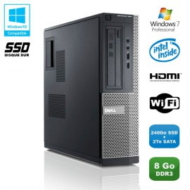 PC DELL Optiplex 390 DT G630 2.7Ghz 8Go 240Go SSD + 2To Graveur WIFI HDMI W7 Pro