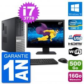 """PC Dell 3010 DT Ecran 27"""" i7-3770 RAM 16Go Disque 500Go HDMI Windows 10 Wifi"""