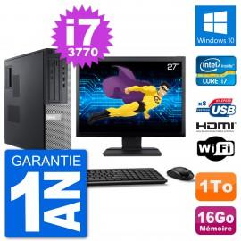 """PC Dell 3010 DT Ecran 27"""" i7-3770 RAM 16Go Disque 1To HDMI Windows 10 Wifi"""