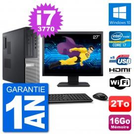 """PC Dell 3010 DT Ecran 27"""" i7-3770 RAM 16Go Disque 2To HDMI Windows 10 Wifi"""