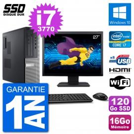 """PC Dell 3010 DT Ecran 27"""" i7-3770 RAM 16Go SSD 120Go HDMI Windows 10 Wifi"""