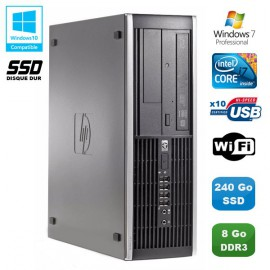 PC HP Compaq Elite 8200 SFF Intel Core i7 3.4GHz 8Go 240Go SSD Graveur WIFI W7