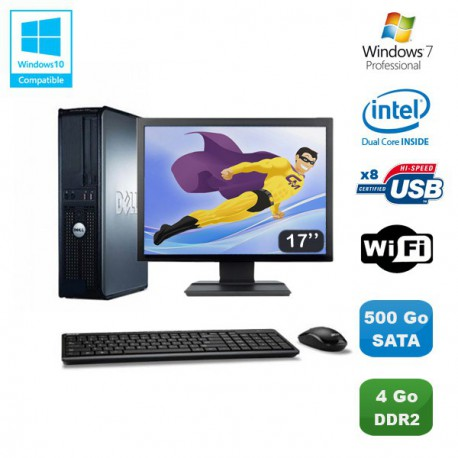 """Lot PC DELL Optiplex 760 DT Dual Core E5200 2,5Ghz 4Go 500Go WIFI W7 + Ecran 17"""""""