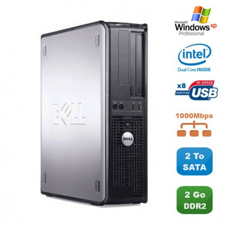 PC DELL Optiplex 760 DT Intel Dual Core E5200 2,5Ghz 2Go DDR2 2To SATA XP Pro