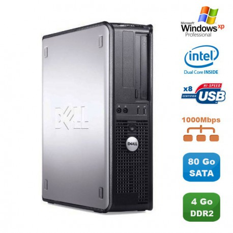 PC DELL Optiplex 760 DT Intel Dual Core E5200 2,5Ghz 4Go DDR2 80Go SATA XP Pro