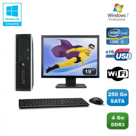 Lot PC HP Elite 8100 SFF Intel Core i5 3.2GHz 4Go 250Go Graveur WIFI W7 Ecran 19