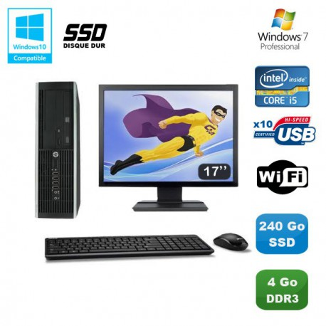Lot PC HP Elite 8100 SFF Intel Core i5 3.2GHz 4Go 240Go SSD Graveur WIFI W7 +17