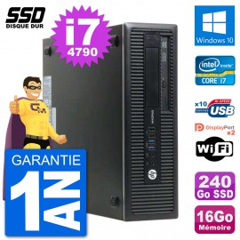 PC HP EliteDesk 800 G1 Core i7-4790 RAM 16Go SSD 240Go Windows 10 Wifi