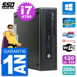 PC HP EliteDesk 800 G1 Core i7-4790 RAM 32Go SSD 120Go Windows 10 Wifi