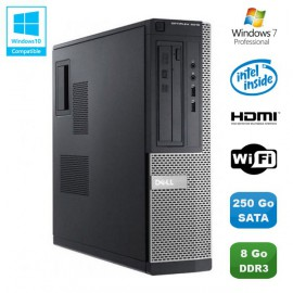 PC DELL Optiplex 3010 DT Intel G640 2.8Ghz 8Go 250Go Graveur WIFI HDMI Win 7 Pro