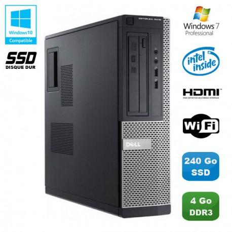 PC DELL Optiplex 3010 DT Intel G640 2.8Ghz 4Go 240Go SSD Graveur WIFI HDMI Win 7