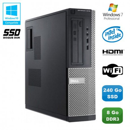 PC DELL Optiplex 3010 DT Intel G640 2.8Ghz 8Go 240Go SSD Graveur WIFI HDMI Win 7