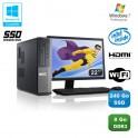"""Lot PC DELL Optiplex 3010 DT G640 2.8Ghz 8Go 240Go SSD Graveur WIFI W7 Pro + 22"""""""
