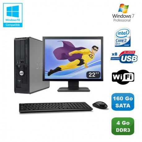 """Lot PC DELL Optiplex 780 Sff E7500 2,93Ghz 4Go DDR3 160Go WIFI Win 7 Pro + 22"""""""