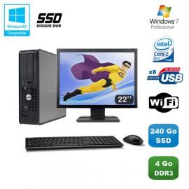 """Lot PC DELL Optiplex 780 Sff E7500 2,93Ghz 4Go DDR3 240Go SSD WIFI W7 Pro + 22"""""""
