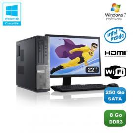"""Lot PC DELL Optiplex 3010 DT G640 2.8Ghz 8Go 250Go Graveur WIFI W7 Pro + 22"""""""