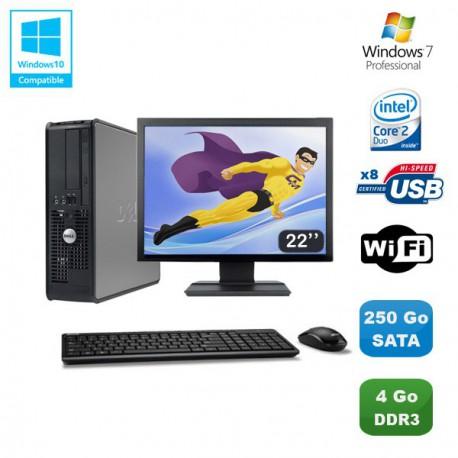 """Lot PC DELL Optiplex 780 Sff E7500 2,93Ghz 4Go DDR3 250Go WIFI Win 7 Pro + 22"""""""