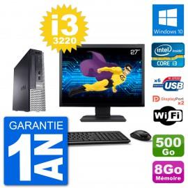 """Ultra Mini PC Dell 7010 USFF Ecran 27"""" i3-3220 RAM 8Go 500Go Windows 10 Wifi"""
