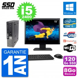 """Ultra Mini PC Dell 7010 USFF Ecran 19"""" i5-2400 RAM 8Go SSD 120Go Windows 10 Wifi"""