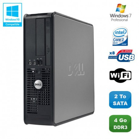 PC DELL Optiplex 780 Sff Core 2 Duo E7500 2,93Ghz 4Go DDR3 2To WIFI Win 7 Pro
