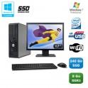 """Lot PC DELL Optiplex 780 Sff E7500 2,93Ghz 8Go DDR3 240Go SSD WIFI W7 Pro + 17"""""""