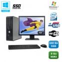"""Lot PC DELL Optiplex 780 Sff E7500 2,93Ghz 8Go DDR3 240Go SSD WIFI W7 Pro + 19"""""""