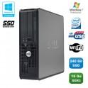 PC DELL Optiplex 780 Sff Core 2 Duo E7500 2,93Ghz 16Go 240Go SSD WIFI Win 7 Pro