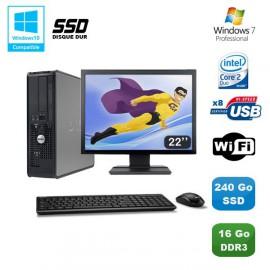 """Lot PC DELL Optiplex 780 Sff E7500 2,93Ghz 16Go DDR3 240Go SSD WIFI W7 Pro +22"""""""