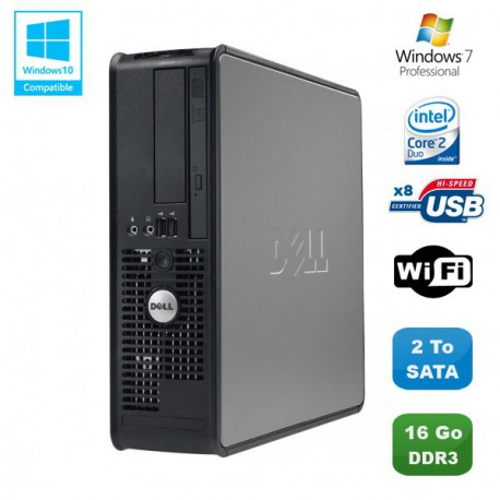 PC DELL Optiplex 780 Sff Core 2 Duo E7500 2,93Ghz 16Go DDR3 2To WIFI Win 7 Pro