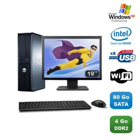 """Lot PC DELL Optiplex 760 DT Intel E5200 2,5Ghz 4Go DDR2 80Go WIFI XP Pro + 19"""""""