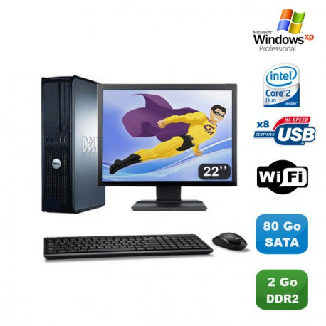 """Lot PC DELL Optiplex 760 DT Intel E8400 3Ghz 2Go DDR2 80 Go WIFI XP Pro + 22"""""""