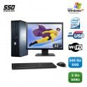 """Lot PC DELL Optiplex 760 DT E8400 3Ghz 2Go DDR2 240Go SSD WIFI XP Pro + 22"""""""