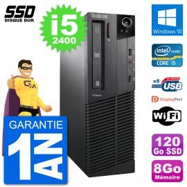 PC Lenovo M91p SFF Intel i5-2400 RAM 8Go SSD 120Go Windows 10 Wifi