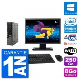 """Ultra Mini PC Dell 790 USFF Ecran 19"""" G640 RAM 8Go Disque 250Go Windows 10 Wifi"""