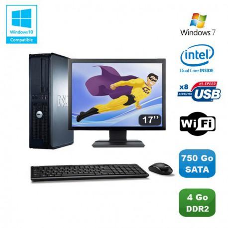 """Lot PC DELL Optiplex 760 DT Intel E5200 2,5Ghz 4Go DDR2 750 Go WIFI Win 7 + 17"""""""