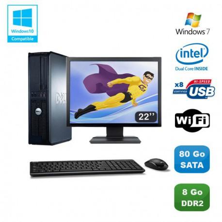 """Lot PC DELL Optiplex 760 DT Intel E5200 2,5Ghz 8Go DDR2 80 Go WIFI Win 7 + 22"""""""