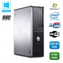 PC DELL Optiplex 760 DT Intel E5200 2,5Ghz 8Go DDR2 240Go SSD WIFI Win 7