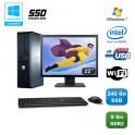 """Lot PC DELL Optiplex 760 DT E5200 2,5Ghz 8Go DDR2 240Go SSD WIFI Win 7 + 22"""""""
