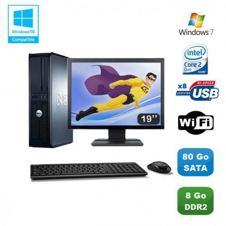 """Lot PC DELL Optiplex 760 DT Intel E8400 3Ghz 8Go DDR2 80 Go WIFI Win 7 + 19"""""""