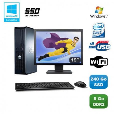 """Lot PC DELL Optiplex 760 DT Intel E8400 3Ghz 8Go DDR2 240Go SSD WIFI Win 7 + 19"""""""