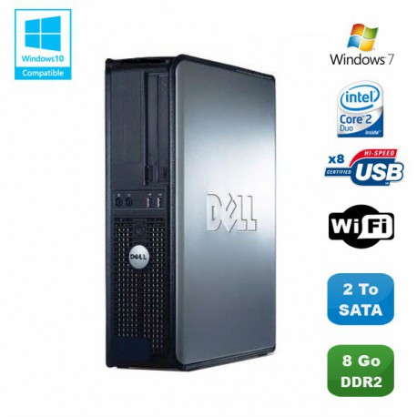 PC DELL Optiplex 760 DT Intel Core 2 Duo E8400 3Ghz 8Go DDR2 2 To WIFI Win 7