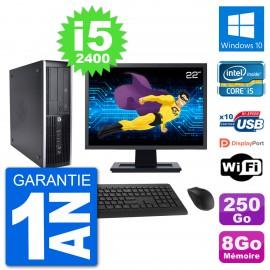 "PC HP 8200 Elite SFF Ecran 22"" Intel i5-2400 RAM 8Go Disque 250Go Windows 10 Wifi"