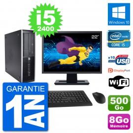 "PC HP 8200 Elite SFF Ecran 22"" Intel i5-2400 RAM 8Go Disque 500Go Windows 10 Wifi"