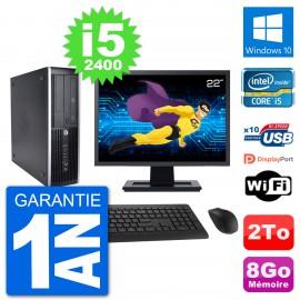 "PC HP 8200 Elite SFF Ecran 22"" Intel i5-2400 RAM 8Go Disque Dur 2To Windows 10 Wifi"