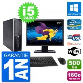 "PC HP 8200 Elite SFF Ecran 22"" Intel i5-2400 RAM 16Go Disque 500Go Windows 10 Wifi"