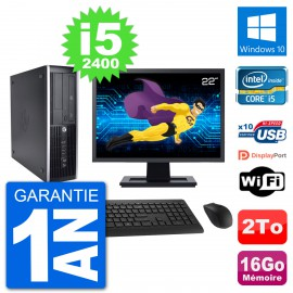 "PC HP 8200 Elite SFF Ecran 22"" Intel i5-2400 RAM 16Go Disque 2To Windows 10 Wifi"