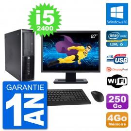 "PC HP 8200 Elite SFF Ecran 27"" Intel i5-2400 RAM 4Go Disque 250Go Windows 10 Wifi"