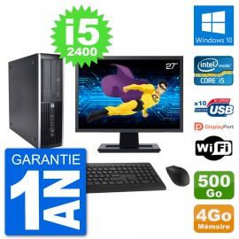 "PC HP 8200 Elite SFF Ecran 27"" Intel i5-2400 RAM 4Go Disque 500Go Windows 10 Wifi"